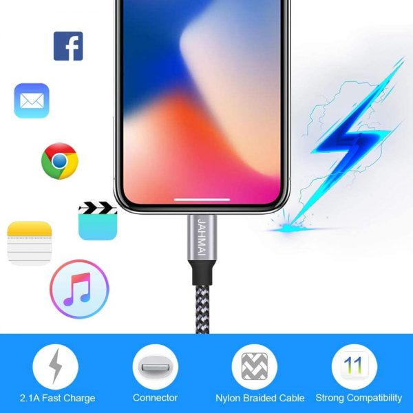 JAHMAI iPhone Charger, Nylon Braided Lightning Cable 3Pack 6ft Fast Charging High Speed Data Sync Cord Phone Connector Compatible with iPhone 11 Pro Max XS MAX XR XS X 8 7 Plus 6S 6 SE for iPad Table