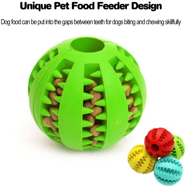Idepet Dog Toy Ball, Nontoxic Bite Resistant Toy Ball for Pet Dogs Puppy Cat, Dog Pet Food Treat Feeder Chew Tooth Cleaning Ball Exercise Game IQ Training Ball