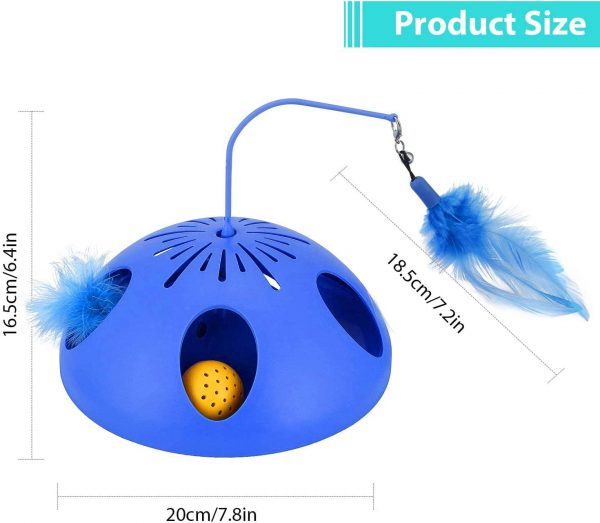 WINGPET Interactive Cat Toys 2 Speed Mode - Electronic Battery Operated Smart Automatic Motion Cat Toy, Spinning Feather Ball Track Puzzle Cat Toy - Exerciser Entertainment Hunting for Kitty Pet
