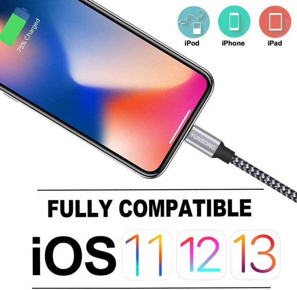 YUNSONG Compatible with iPhone Charger, 3Pack 6FT Nylon Braided Lightning Cable Charging Cord USB Cable for iPhone 11 Pro Max XS XR X 8 7 6S 6 Plus SE 5S iPad