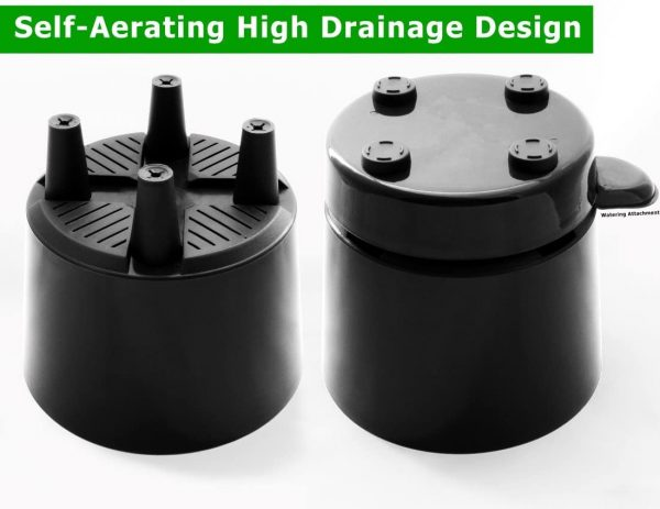 """8"""" Self Aerating + Self Watering High Drainage Deep Reservoir Round Planter Pot Prevents Mold, Root Rot & Soil Fungus in Herbs, Succulents, for Indoor & Outdoor & Windowsill Gardens (Black)"""