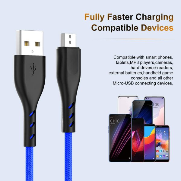 Micro USB Cable Braided 10ft 10ft 6ft 6ft, Android Charging Cable Fast Phone Charger Cord with Extra Long Length Nylon Braided Compatible with PS4,Samsung Galaxy S7 Edge/S7/S6,Note 5 4,LG(4pack)-Blue