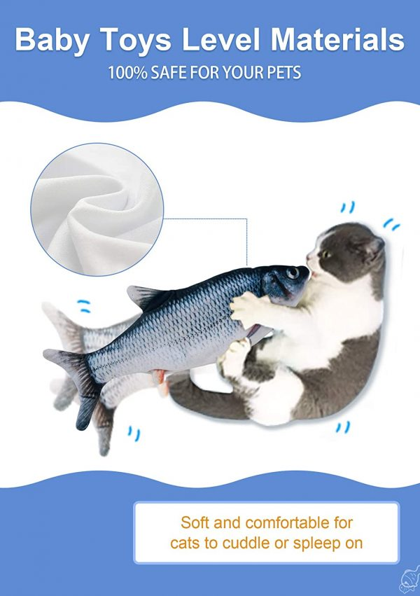 """Potaroma Moving Cat Kicker Fish Toy 11"""", Realistic Flopping Fish, Wiggle Fish Catnip Toys, Motion Kitten Toy, Plush Interactive Cat Toys, Fun Toy for Cat Exercise, Cat-Fish-Toy-Kitty-Interactive"""