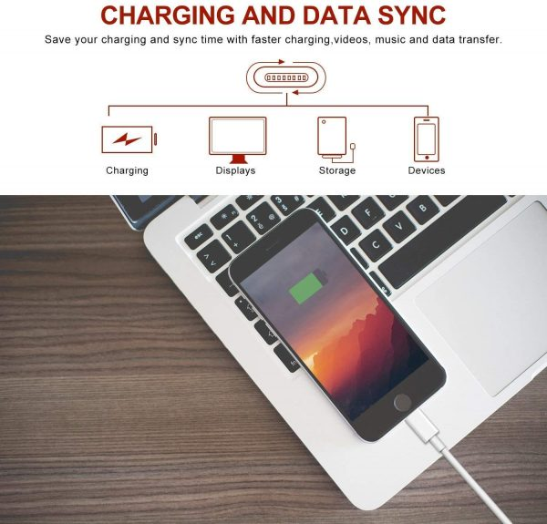 Lightning Charger Cable iPhone Charger Cable 5 Pack 6FT USB Fast Charging Syncing Cord Cables Compatible iPhone XS/Max/XR/X/8/8Plus/7/7P/6S/iPad/IOS White sharllen