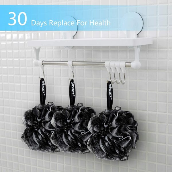 Yoget Charcoal Bath Loofah Sponge, 4 Pack Black 60G Large Shower Mesh Ball Soft Pouf Body Scrubber, Exfoliate, Cleanse, Soothe Skin