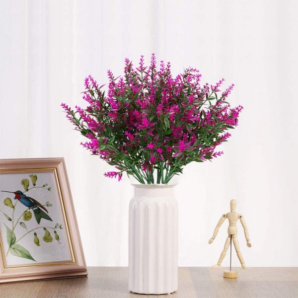 KLEMOO Artificial Lavender Flowers Plants 8 Pieces, Lifelike UV Resistant Fake Shrubs Greenery Bushes Bouquet to Brighten up Your Home Kitchen Garden Indoor Outdoor Decor(Fuchsia)