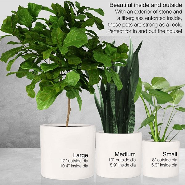 """12"""" Large Plant Pot by Fox & Fern - Fits Plant Stand - Drainage Plug - Outdoor Indoor - Matte White"""